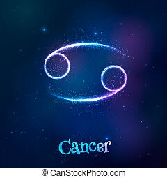cáncer, cósmico, brillar, neón, zodíaco, azul, símbolo