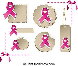 cáncer, conjunto, conocimiento del pecho