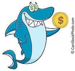 cápa, betű, Karikatúra, kapzsi
