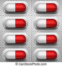 cápsula, branco vermelho, fundo, pílulas