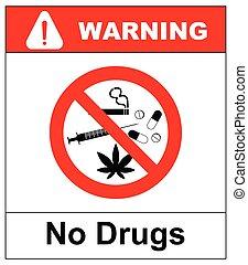 cápsula, cocaína, no, cannabis, prohibido, ilustración, ...