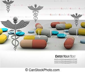 cápsula, con, símbolo, de, medicina