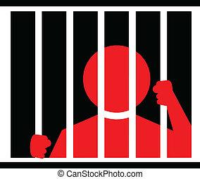 cárcel, ilustración, hombre
