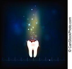 cárie dentária, abstratos, experiência azul