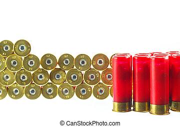 cáscara, bala, escopeta, fondo., rojo blanco
