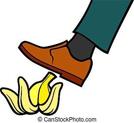 cáscara, ilustración, se resbalar, vector, plátano, hombre