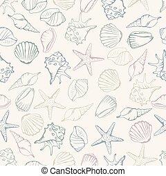 cáscara, pattern., seamless, ilustración, vector, mar