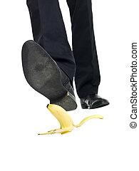 cáscara, plátano, resbalón