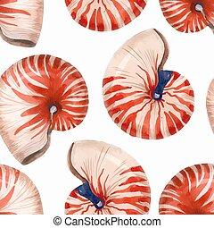 cáscara, vida, patrón, mar, vector, acuarela, nautilus