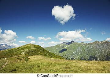 cáucaso, corazón, abkhazia., cielo azul, montañas., nube