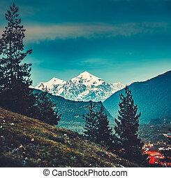 cáucaso, valle, montañas., vista