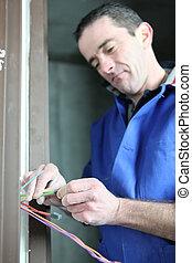 câblage, électrique, installation, électricien
