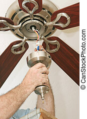 câblage, ventilateur plafond