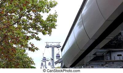câble, barcelona., voiture., spain., cabine, cableway.