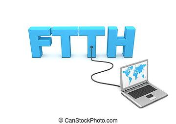 câble, fibre, -, ftth, maison