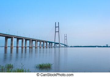 câble-resté pont, et, yangtze rivière