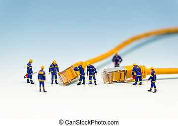 câble, rj45, réseau, techs, équipe