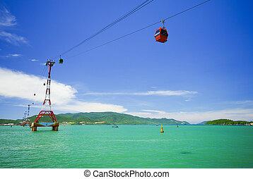câble, skyscape, voiture, sur, contre, mer, cabine
