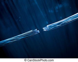 câbles, fibre, connecter, optique