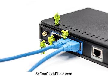 câbles, ingénieurs, connecter, réseau, switch.