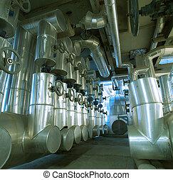 câbles, intérieur, équipement, moderne, trouvé, industriel, puissance, tuyauterie, plante