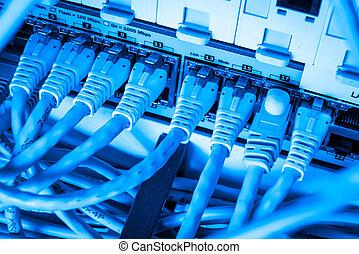 câbles, réseau, moyeu, pièce