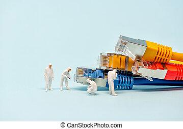 câbles, réseau, techniciens, multicolore