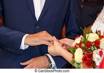 câmbio, anéis, dia casamento