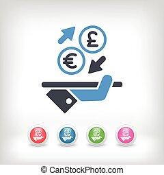 câmbio, -, moeda estrangeira, euro/sterling, ícone