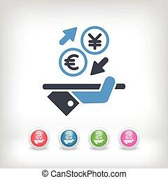 câmbio, -, moeda estrangeira, euro/yuan, ícone