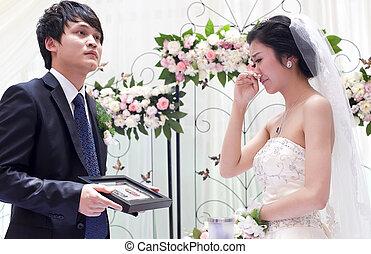 câmbio, par, votos, jovem, seu, dia casamento