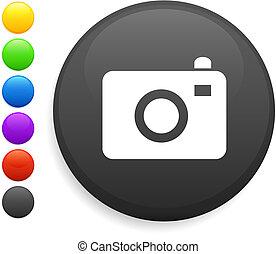 câmera, ícone, ligado, redondo, internet, botão