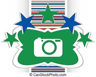 câmera, ícone, ligado, redondo, internet, botão, original, ilustração