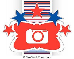 câmera, ícone, ligado, redondo, internet, botão, original, ilustração, vetorial