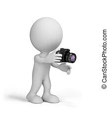 câmera, 3d, homem