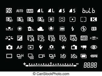câmera, ajustes, símbolos