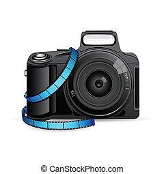 câmera, bobina, película