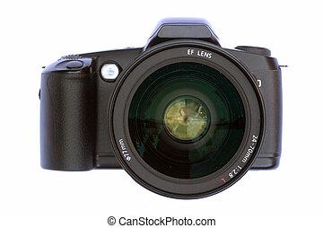 câmera, com, grande, lente