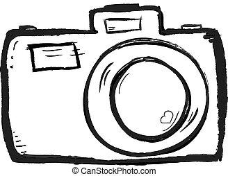 câmera, desenhado