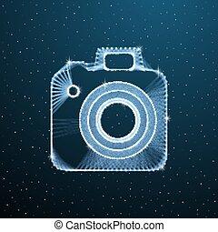 câmera digital, imagem, polygonal, ilustração, azul, poly, equipment., escuro, fotografia, wireframe, linha, foto, baixo, experiência., vetorial, ponto