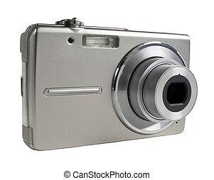 câmera digital, isolado, branco