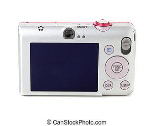 câmera digital, vista traseira