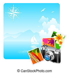 câmera, e, viagem, quadros, contra, um, idyllic, paisagem