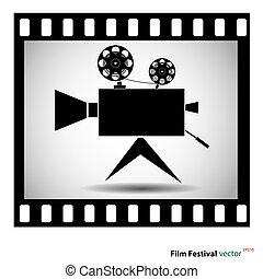 câmera filme, em, faixa película, isolado, ligado, um, branca, experiência., estoque, vetorial, illustration.
