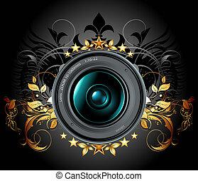 câmera, foto, lente