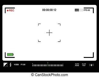 câmera foto, vídeo, ou, viewfinder