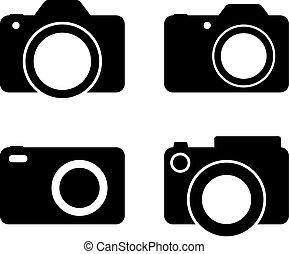câmera, fotografia, vetorial, pretas, sil