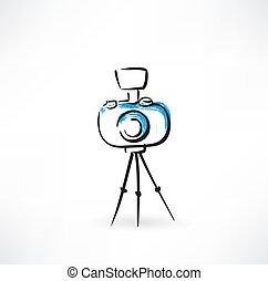câmera, grunge, tripé, ícone