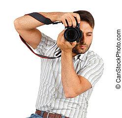 câmera, homem jovem