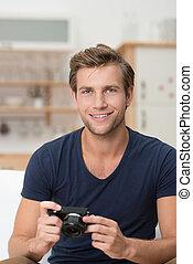 câmera, homem jovem, bonito